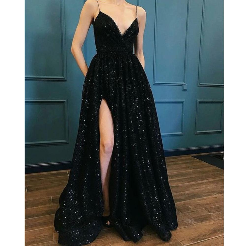 Vestido De Festa 2019 Black   Evening     Dress   High Split Spaghetti Strap A Line Sequin Prom Party Gowns Custom Made Women   Dresses