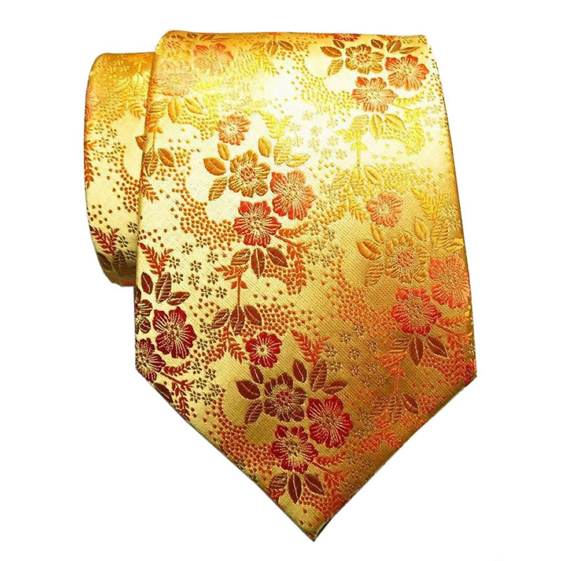 Classic Floral Yellow Gold JACQUARD WOVEN Silk Men's Tie Necktie Wedding Party 2018 Summer Fashion