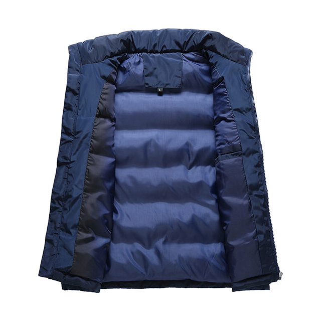 2018 New Winter Jacket Down Vest Men Solid Color Gilet Cuir Homme Sleeveless Mens Windproof Warm Waistcoat Slim Thick JK18003