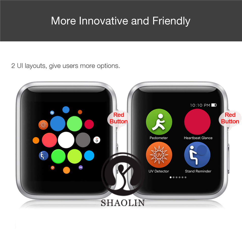 SHAOLIN Bluetooth Smart Watch Heart Rate Monitor Smartwatch Wearable Devices for iPhone IOS and Android Smartphones apple watch-5