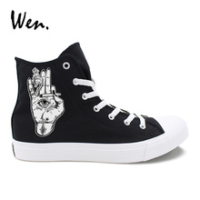 Wen Casual Shoes Eyes on The Palms Smoking Designs High Top Unisex Sneakers Canvas Black White Vulcanized Fashion Rubber Shoes цена в Москве и Питере