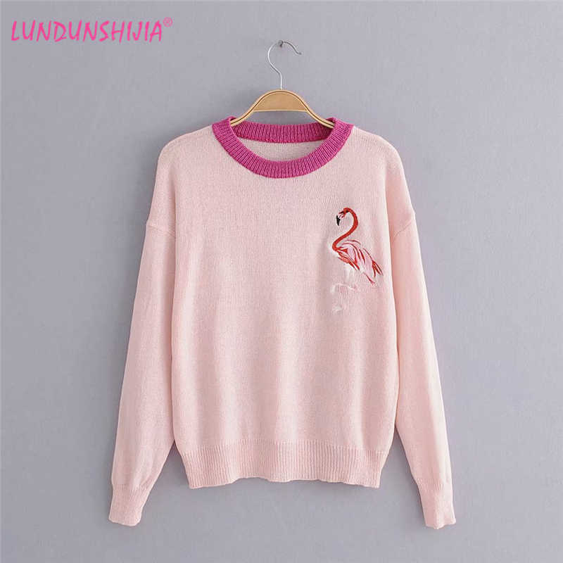 LUNDUNSHIJIA 2018 Autumn Winter Purple Blue Pink Sweaters For Women  Knitting Pullover Tops Flamingo Embroidery Female 68688adbd0f4