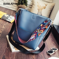 Vintage Colorful Strap Bucket Bag Fashion Shoulder Messenger Bag Large Capacity Handbag Casual Tote Shopping Bags