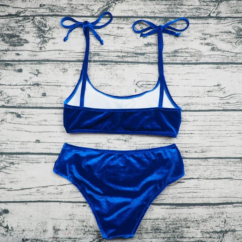 Sexy Brazilian Bikini 17 Blue Velvet Swimwear Women Swimsuit Push up Biquini Halter Bikinis Set Bathing Suit Maillot De Bain 6