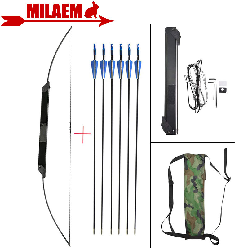 1Set 30 50lbs Archery Recurve Bow With 6pcs Fiberglass Arrow Straight Bow Folding Bow Bow And