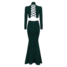Turtleneck Floor Length Fashion Solid Women Lady 2 Piece Set