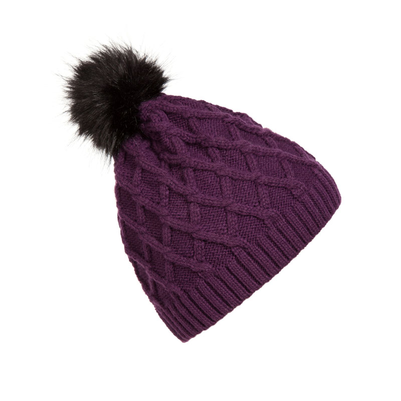 07b1b0181 US $4.54 35% OFF|Trendy New Design Women's Winter Toque Hats Plaid Cable  Knit Beanie with Faux Fur Pom Pom Warm Skull Caps Toque Black Purple-in ...