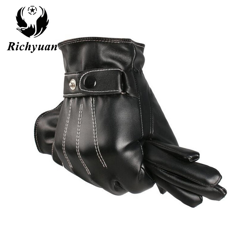 Mens Classic Black Winter Leather Gloves Outdoor Sport Driving Touch Screen Gloves Male Military Warm Glvoes