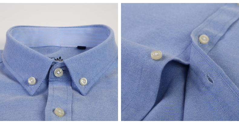 Mens Long Sleeve Solid Oxford Dress Shirt with Left Chest Pocket High-quality Male Casual Regular-fit Tops Button Down Shirts 8