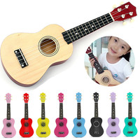 Colorful 21 Inch Acoustic Soprano 4 String Mini Basswood Ukulele Musical Instrument Toy Learning Educational Music Toys For KIDS
