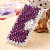 Luxury Girl Woman Lady Rhinestone Filp Wallet Leather Diamond Card Slots Phone Case For Samasung Galaxy