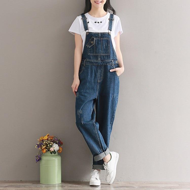 Autumn Women Casual Jeans Jumpsuit Vintage Overalls Denim Romper Long Trousers Vaqueros Wide Leg Rompers Female