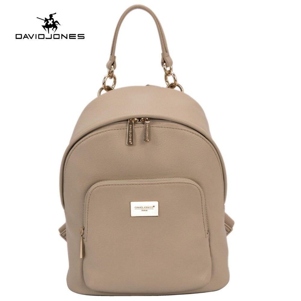 DAVIDJONES d'épaule des femmes sac en cuir pu femme sac à dos grande dame voyage sac d'école fille marque adolescent softpack drop shipping