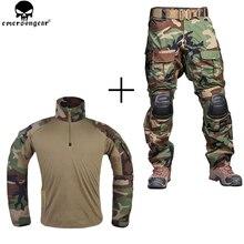 EMERSONGEAR 전투 바지 무릎 패드와 유니폼 전술 바지 군사 육군 Multicam 바지 셔츠 사냥 의류 우드랜드