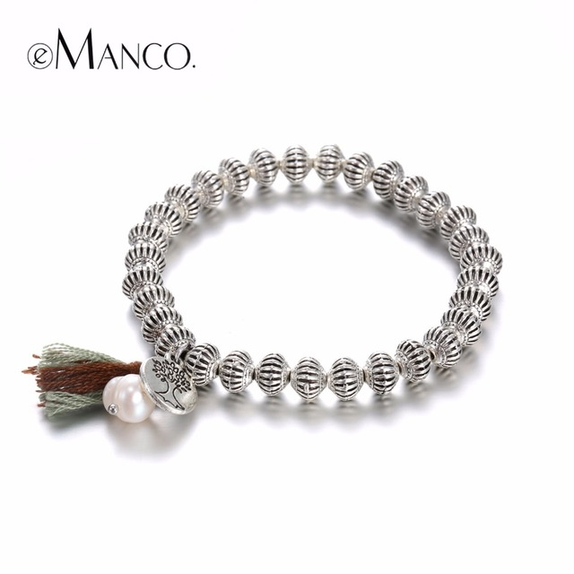 eManco Classic Vintage Tassel Strand Bracelets & Bangles for Women Alloy Lantern Beads Silver Plated Small Pendants Jewelry