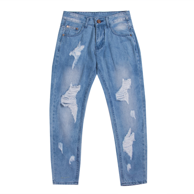 e3f16e7cbff2d Mens Ripped Slimfit Skinny Jeans Stretch Denim Distress Frayed Biker Jeans  Boys