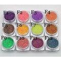 12 cajas/set 2 g/caja Escarcha Polvo Del Polvo de Uñas de Arte Azúcar Pigmentos 3D Lentejuelas Polaco Gel Chica de Color Deslumbrante uñas Consejos de Perlas BRICOLAJE