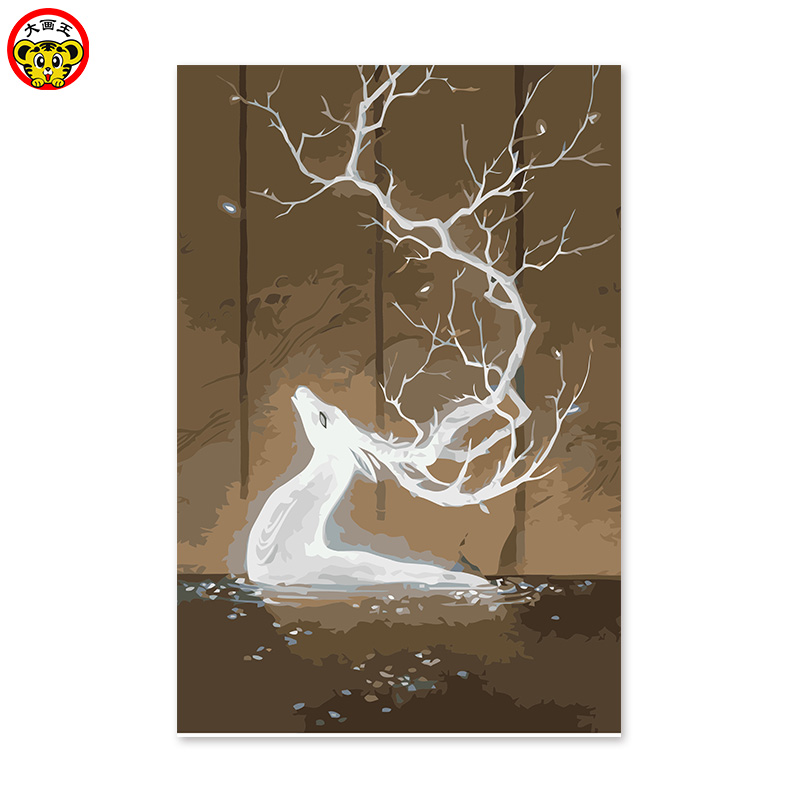 Soul deer King adornment painting digital oil painting abstract divine God power rich and auspicious peace