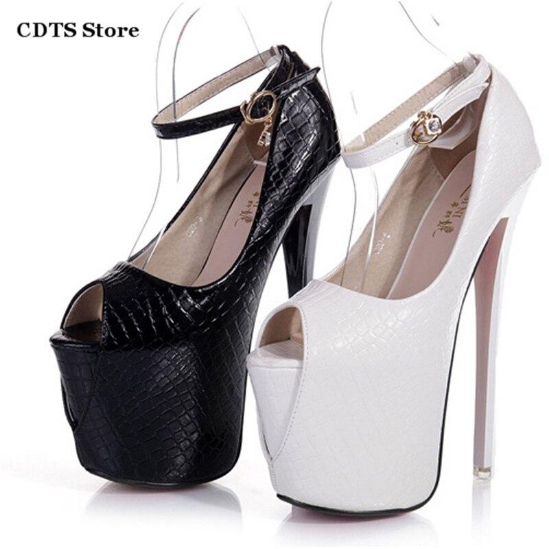 ФОТО Crossdresser Summer brand sandals 19/20cm Ultra high thin heels sexy Open toe red dress pumps women lady buckle wedding shoes