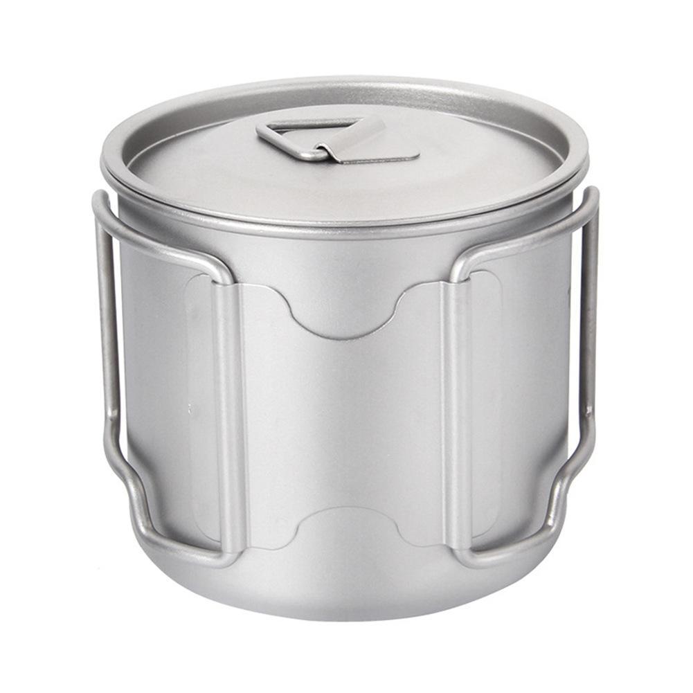 2018 nueva botella de titanio al aire libre Camping Titanium Bowl Picnic portátil taza de agua con mango plegable