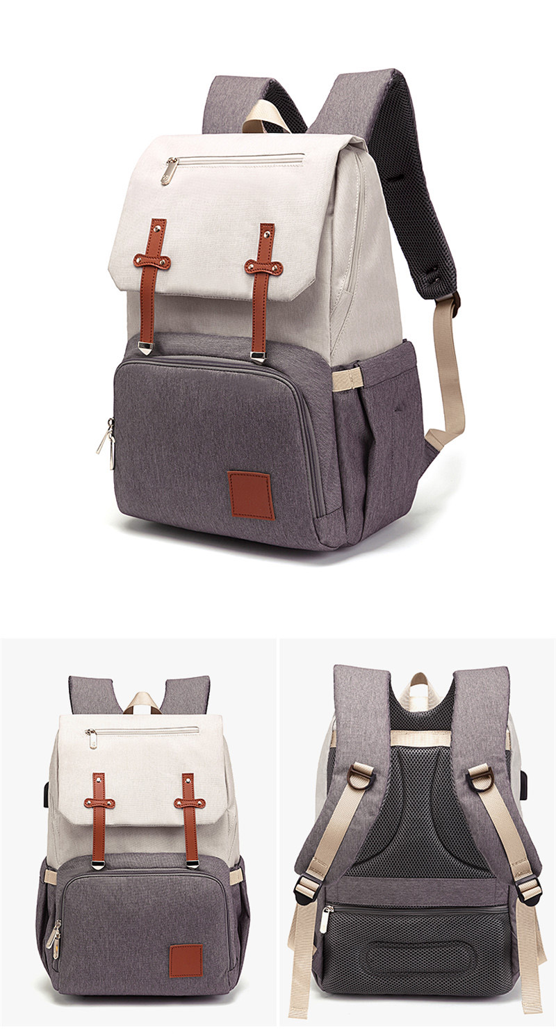 HTB14vdSaOLrK1Rjy1zdq6ynnpXag New Fashion Women Backpack With USB Mummy Daddy Outdoor Travel Diaper Bags Pure Large Waterproof Nursing Bag Baby Care Nappy Bag