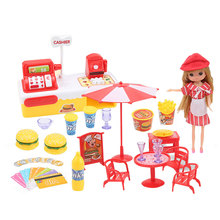 with Doll Hamburger Checkout Cash Register Toy Hamburger Play House Toy Simulati