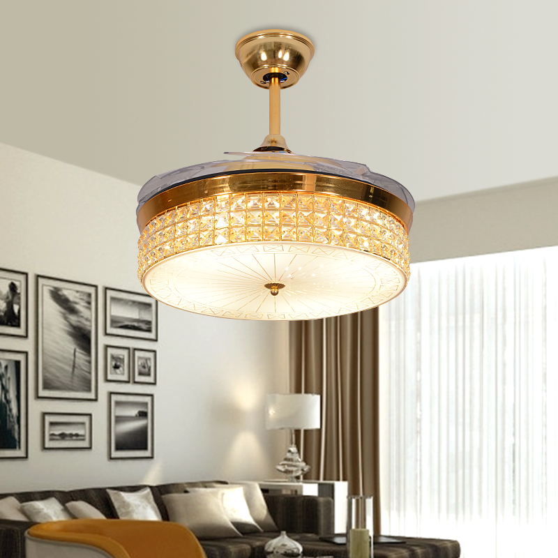 Awesome LED Hidden Blade Crystal Acrylic Stainless Steel Ceiling Fan LED Lamp LED Light Ceiling Lights LED Ceiling Light Ceiling Lamp in Ceiling Fans from Lights For Your House - Minimalist 5 light ceiling fan For Your House