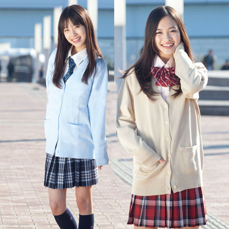 Japanese School Jk uniforms cardigan outerwear sweater 100% cotton knit  sailor long,sleeved coat