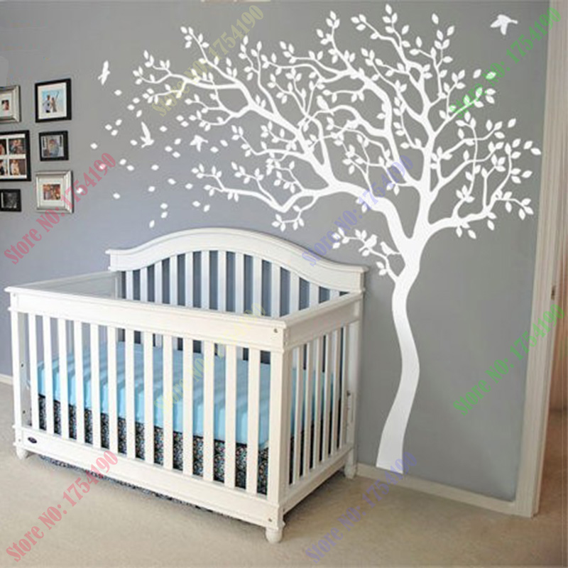 huge white tree wall decal nursery tree and birds wall art baby kids