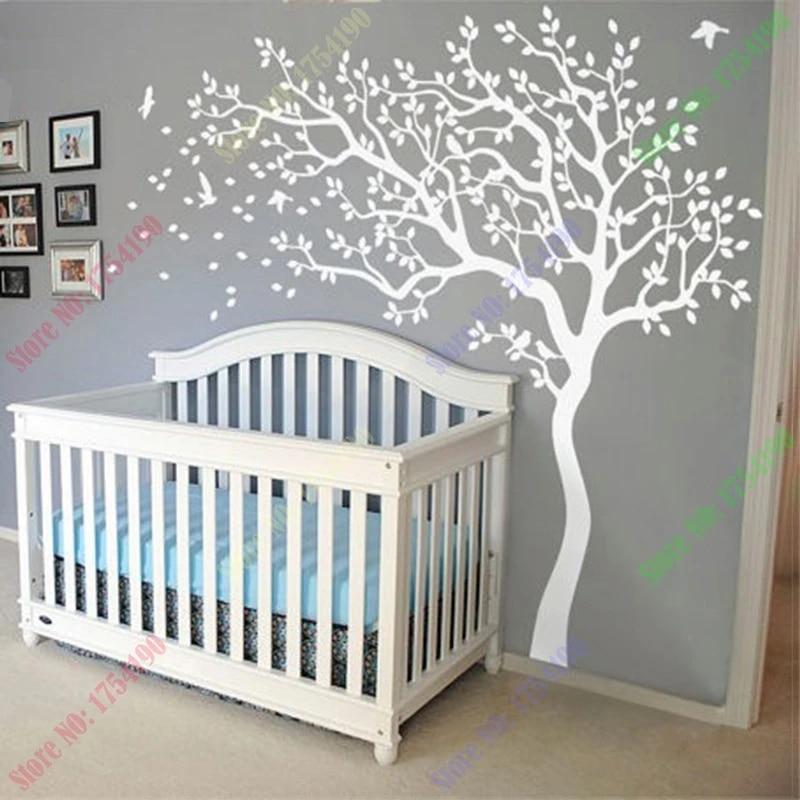 Tan White Wall Art Nursery Bunting Blue Wall Decals Boys Room Art C023 D03 Nursery Tree Decal Fabric Stickers Bunting Tree Decal