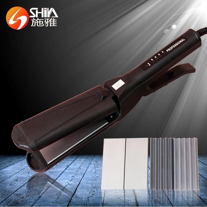 ФОТО Multi-functional professional hair straightener hair curler Fluffy hair straightening plywood 5 lights display straight iron