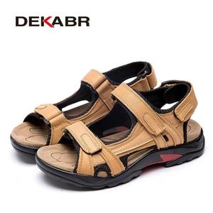 Image 2 - Dekabr Top Kwaliteit Sandaal Mannen Sandalen Zomer Echt Lederen Sandalen Mannen Outdoor Schoenen Mannen Lederen Schoenen Grote Plus Size 46 47 48