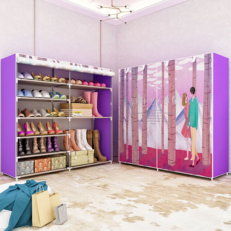 Boots storage shoes cabinet fashion painting Non-woven fabric shoe rack organizer removable shoe storage for home furniture 12 grid diy assemble folding cloth non woven shoe cabinet furniture storage home shelf for living room doorway shoe rack
