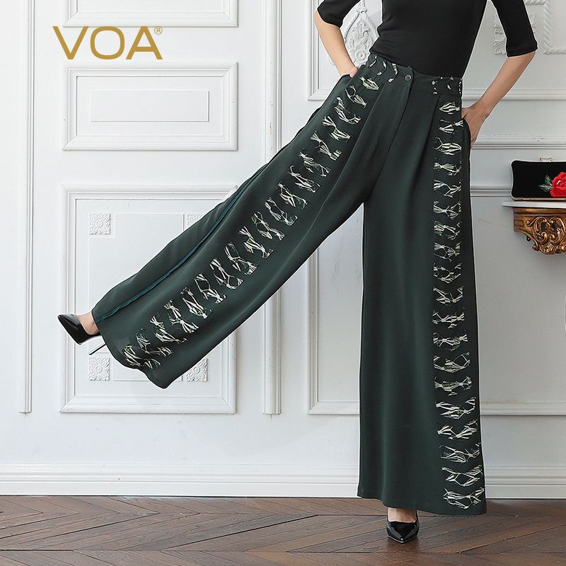 VOA Heavy Silk Wide Leg Pants Long Trousers Women Casual Plus Size 5XL Loose Army Green Print High Waist Palazzo Pants K556 palazzo flowers print wide leg flare pants