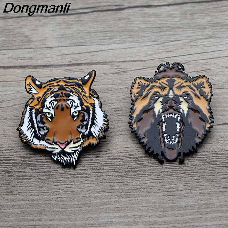 L3605 Animale Tigre Leone Orso del Metallo Dello Smalto Spille Spille Del Fumetto Creativo Spilla In Metallo Spilli Denim Cappello Distintivo Del Collare Dei Monili 1 pcs