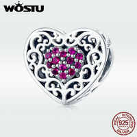 WOSTU Trendy 925 Sterling Heart Charms CZ Bead Fit Original Bracelet Pendant Charm For Jewelry Making Love Gift DXC1109