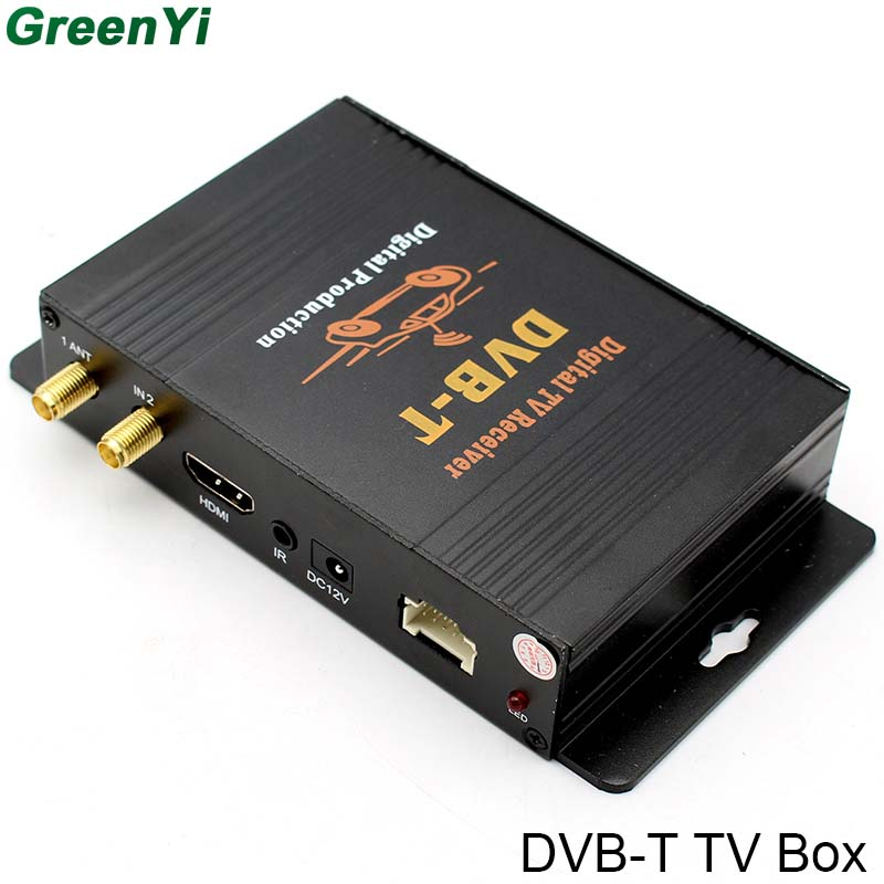 GreenYi Double Antenna DVB-T MPEG4 / ISDB-T Digital TV Box For Android 6.0 7.1 8.0 DVD Player dvb t isdb digital tv box for our car dvd player