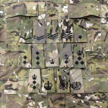 Ejército británico bordado Multicam MTP negro Rank Slides Morale Military Tactics parches con símbolo