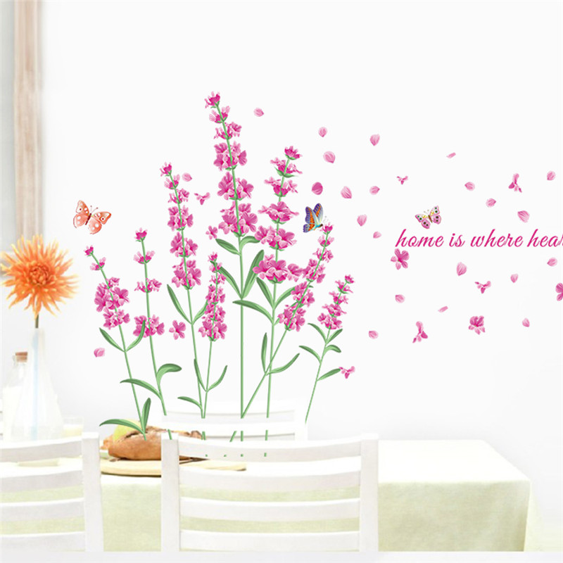 Romantic DIY Nature Flowers Butterfly Wall Stickers Home is Where Heart is Quotes 3d Wall Decals floral TV decoration Home Decor-in Wall Stickers from Home ...  sc 1 st  AliExpress.com & Romantic DIY Nature Flowers Butterfly Wall Stickers Home is Where ...