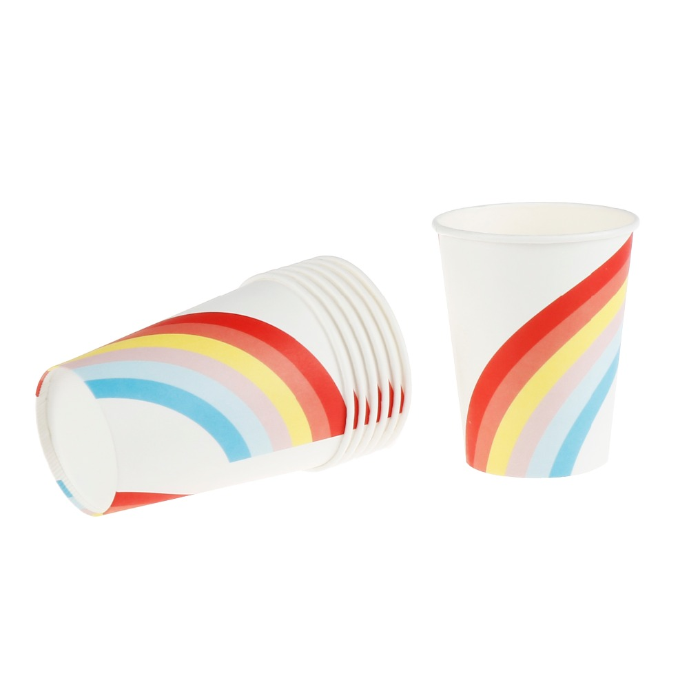 8 pcs Rainbow Theme Paper Cups Disposable Tableware Wedding Birthday ...