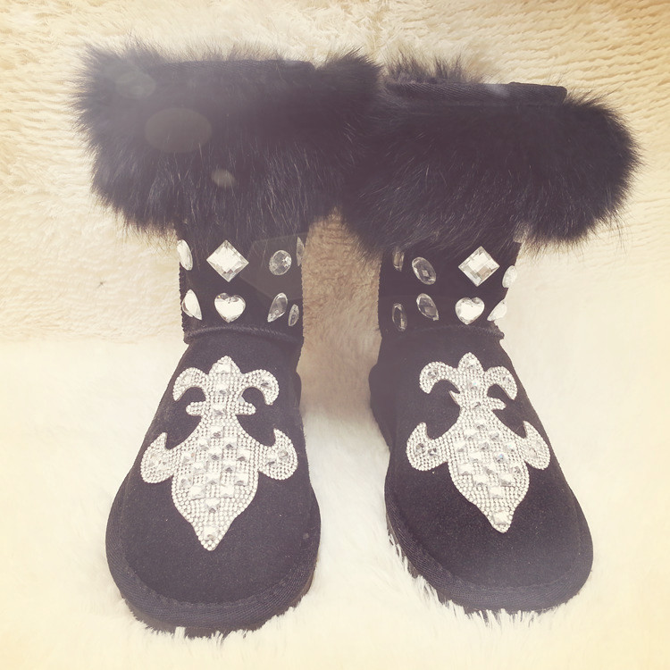 2017 Bohemia Rhinestone Snow Boots Furry Woman Warm Casual Flats Women Fox Fur Winter Boots Diamonds Genuine Leather Shoes Woman