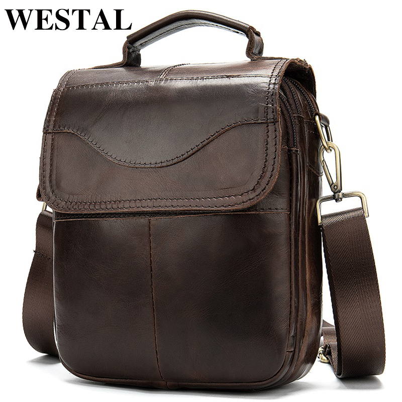 WESTAL Bag Men's Genuine Leather Messenger Shoulder Bag For Men Leather Fashion Small Flap Man Male Crossbody Bags Handbags 8558
