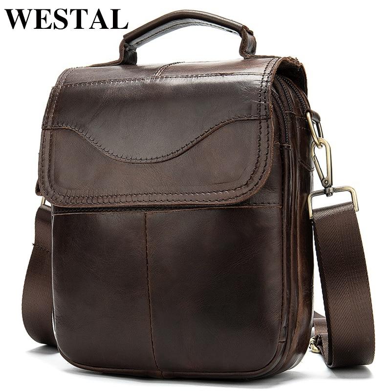 WESTAL Bag Men's Genuine Leather Messenger Shoulder Bag For Men Leather Fashion Small Flap Man Male Crossbody Bags Handbags 8558