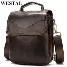 WESTAL omuzdan askili çanta erkekler için çanta erkek hakiki deri postacı çantası küçük Flap erkek erkek Crossbody çanta deri erkek handbag8558