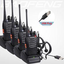 4 pçs/lote baofeng walkie talkie adaptador de carga usb BF 888S uhf 400 470mhz 2 way rádio 16ch longo alcance com baofeng fone de ouvido