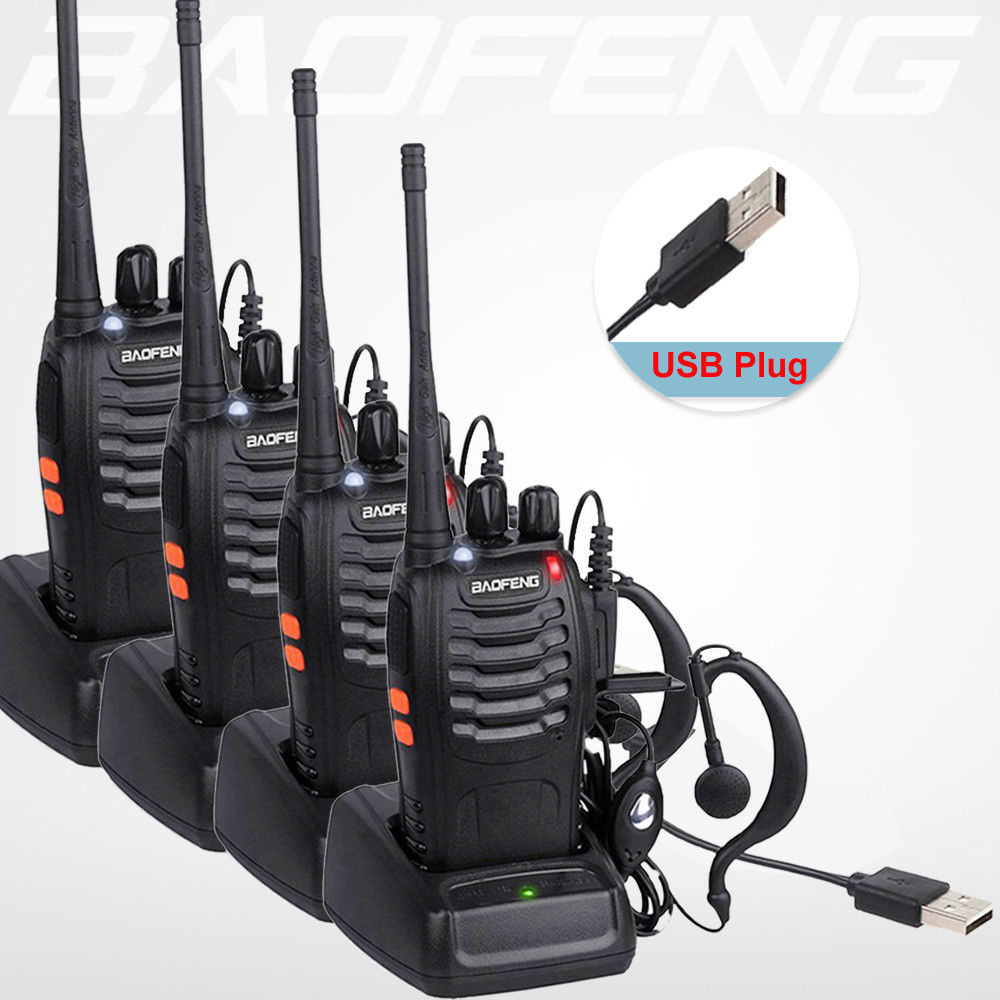 4 teile/los BaoFeng Walkie Talkie USB lade adapter BF-888S UHF 400-470 MHZ 2-Way Radio 16CH Lange palette mit baofeng kopfhörer