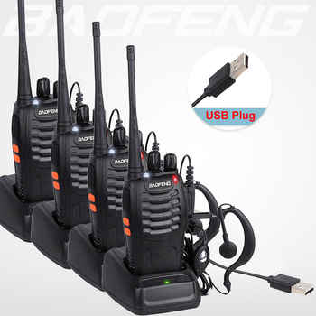 4PCS/LOT BaoFeng Walkie Talkie USB charge adapter BF-888S UHF 400-470MHZ 2-Way Radio 16CH Long Range with baofeng earphone - DISCOUNT ITEM  21% OFF All Category