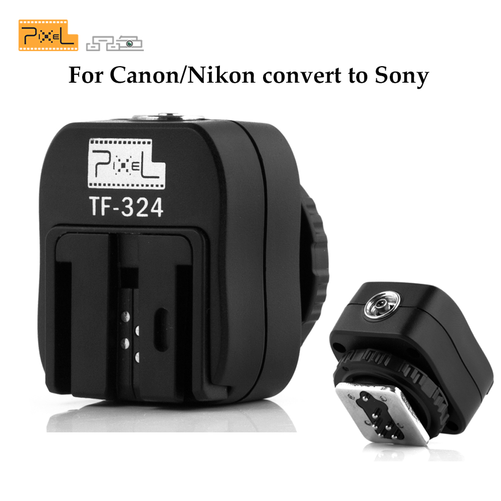 Pixel TF-324 Flash Hot Shoe Converter with PC Sync Socket Adapter For Canon Nikon Pentax Panasonic Samsung Sony F58AM Flashgun