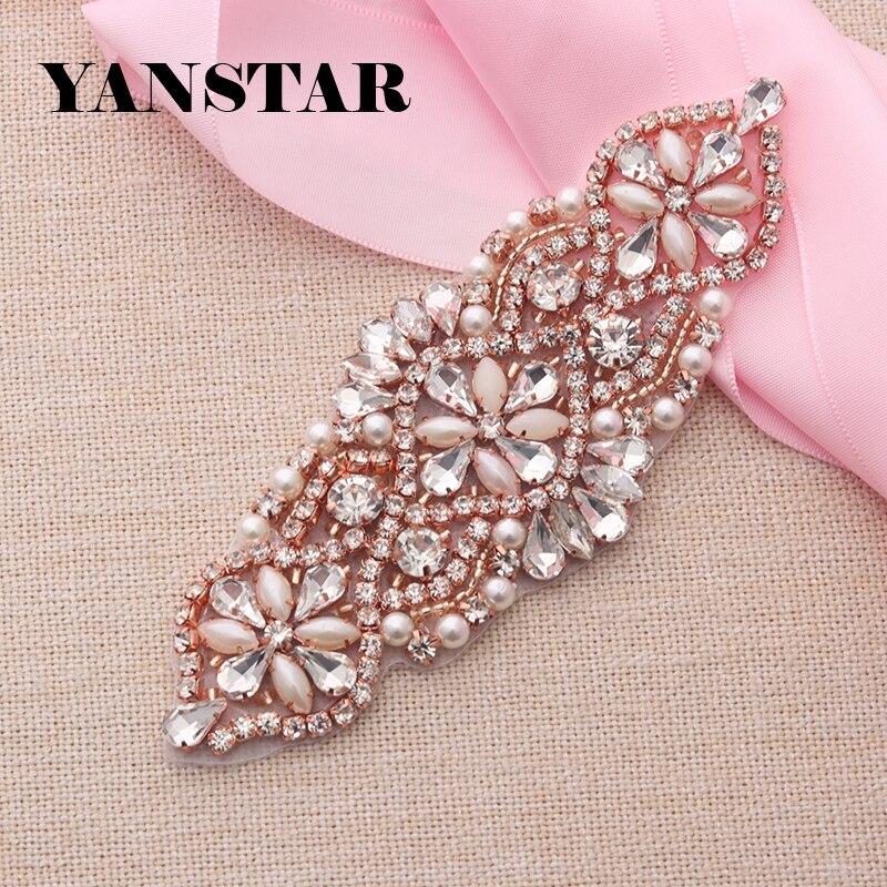 YANSTAR (10pcs)Wholesale Wedding Dress Belt Rhinestones Appliques Protein Beads For Bridal Gown Sash DIY Bridal Belt YS848
