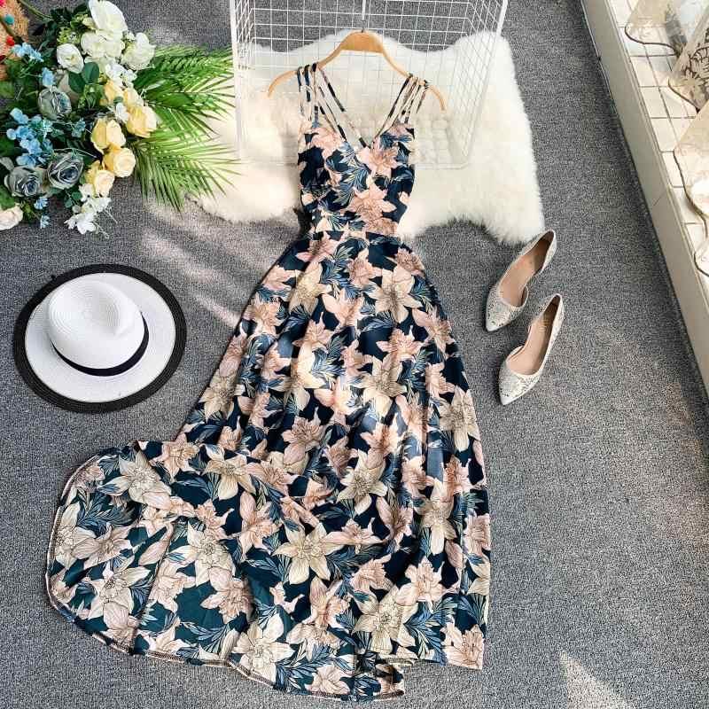 Летнее женское платье в богемном пляжном стиле с открытой спиной и принтом, длинное платье трапециевидной формы 2019, сексуальное платье с высокой талией 11515